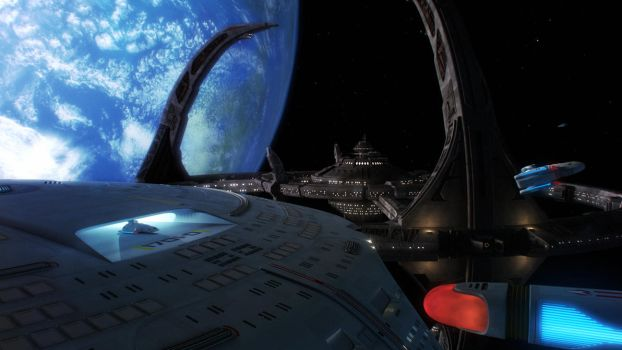 Enterprise Delivers Runabouts to DS9 by Cannikin1701