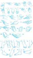 Hand and Foot Sketches by PadawanLinea
