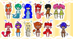Horoscope Adoptables collab by Dreaminkitty