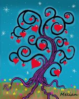 Spiral Heart Tree Abstract by MelianMarionette