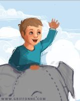 Sketch of Liam Riding a Magical Elephant by joanniegoulet