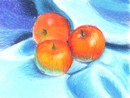 Apples On Satin Cloth by MsTemmii