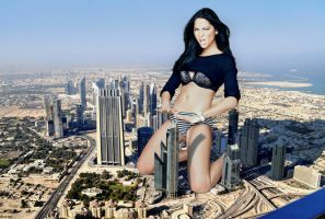 Giant Olivia Munn In City by docop
