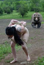 Manip: Tied girl tries to escape stalking bear by wsaef