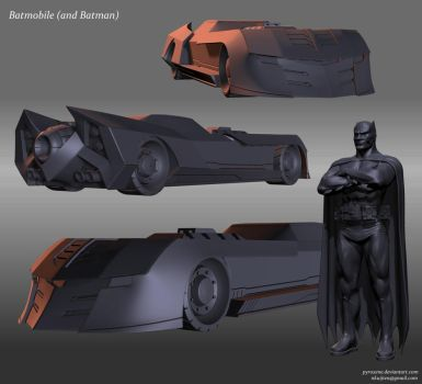 Batmobile and Batman by Pyroxene