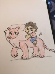 Lion and Steven  by Wolftales158Art