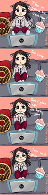 When watching romantic anime... by Cera-Miaw