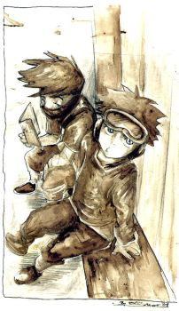 Young Obito and Kakashi by Ellinor87