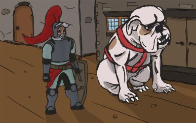 Paladin Knight and Dog by SteelToad