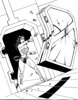 Wonder Woman punches a steel door by RPL-Arts