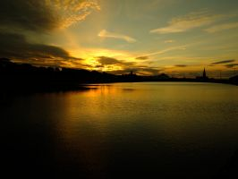 Sunset over the boating lake by M-Hutcheson