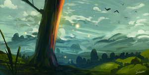Tree On A Hill Speedpaint by Frostwindz