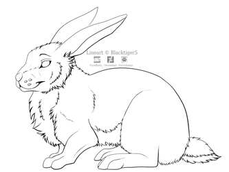 Free Rabbit Line Art by Blacktiger5