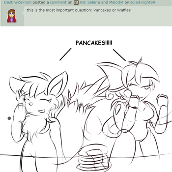 Ask Melody and Selena #5 - Pancakes or Waffles by solarknight99