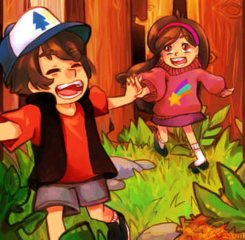 Dipper and Mabel forest by Yoki-doki