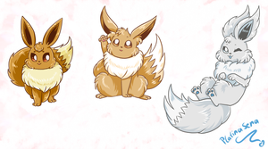 Bunch Of Eevees by PlatinaSena