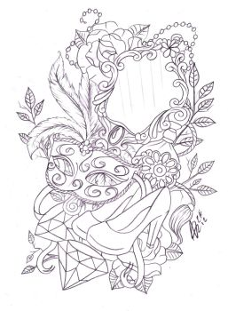 Leg mask and mirror tattoo sketch by Nevermore-Ink