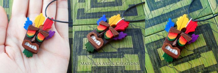 Crash Bandicoot - Aku Aku WOOD necklace by MithriLady