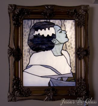Bride Frankenstein - She's Alive! Stained Glass by JessasGlass
