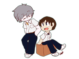 Kaworu and Shinji by Mimirao