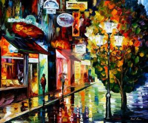 Amsterdam - Night Rain by Leonid Afremov by Leonidafremov