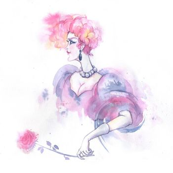 Watercolor sketch. The pink lady by Last-Valentine