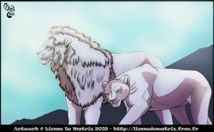 White lions pair by lionne-de-matrix