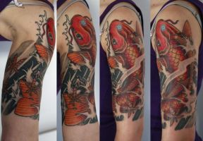 koi fish on arm by graynd