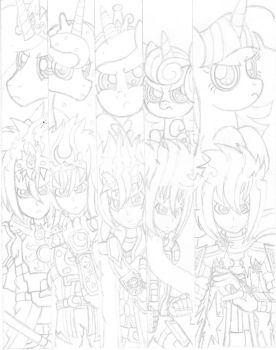 Princess and Prince Bookmark (Sketch) by PiplupSTARSCommander
