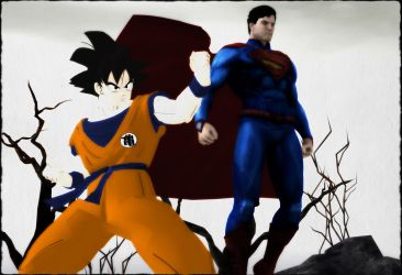 Goku and Superman Team-up by calibur222