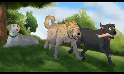 Family Dogs Portrait by MightyRaptor