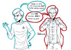 Inktober 29 - Leonard McCoy and the 11th Doctor by Rory221B