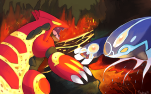Primal Groudon and Kyogre Battle by Phatmon