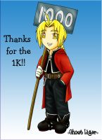 Edward Elric 1K Kiriban by GhostLiger