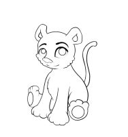 Kitty line art by Erua