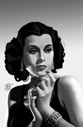 Hedy Lamarr -black and white- by sat-s