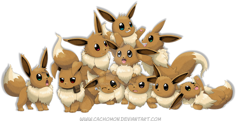 Eevee everywhere by Cachomon
