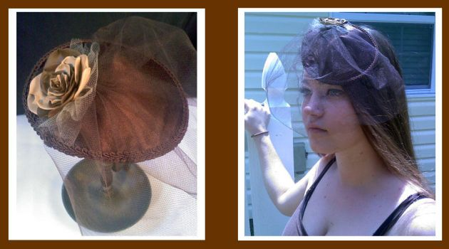 Formal Brown Hat with Rose by Mellowed-Mushroom