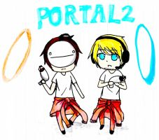 PewDiePie with Cry[Portal 2] by selrebro