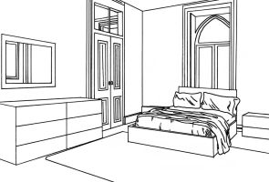 Bedroom lineart by willow-yanagi