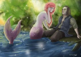 a mermaid and a pirate by LightMagicalLady