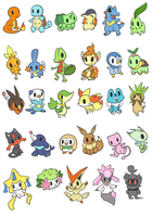 Pokemon stickers, starters and small legendaries!