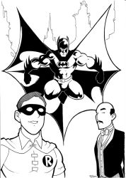 Silver Age Batman Trio Inks by BevisMusson