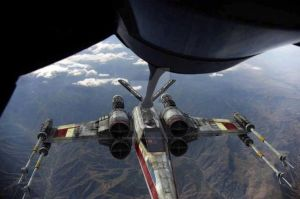 X-Wing: the starfighter being refueled by AF KC-10 by ragamuffin900