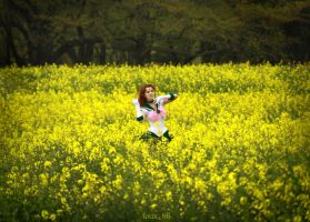 Sailor Jupiter in a field of yellow flowers by foux86