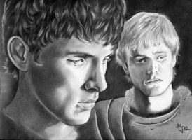 Merlin and Arthur by enednoviel