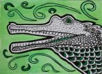 aceo  zentangle Gavial for kailavmp by Anbeads