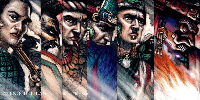 Tenochtitlan concept character banner sketch by Jaime-Gmad