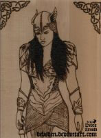 Valkyrie Xena Woodburning by DebsDen