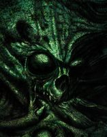 Green Skull Dark Art by kayden7